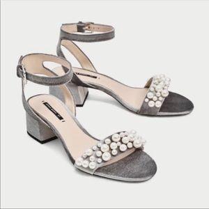 ZARA Silver Velvet Pearl Strap Heels 37